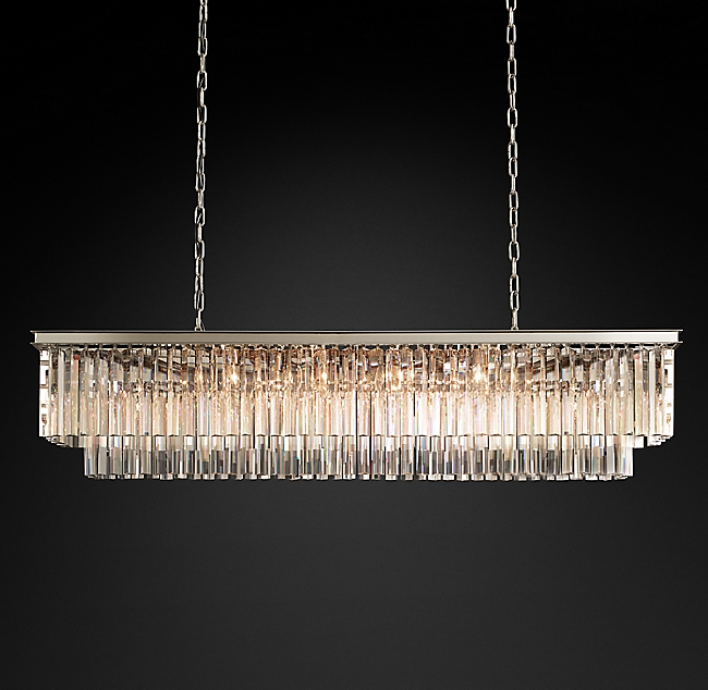 1920s Odeon Clear Glass Fringe Rectangular Chandelier 59 Rectangular Chandelier Chandelier Modern Ceiling Light