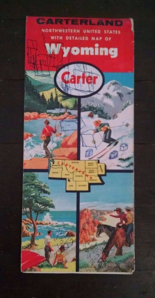 Vtg Carter Road Map Northwestern United States Wyoming 1960