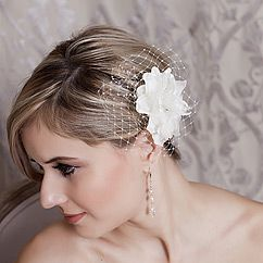 unique bridal hair flowers designed by laura jayne bridal kaylee organza bridal flower hairpin with netting in white or ivory