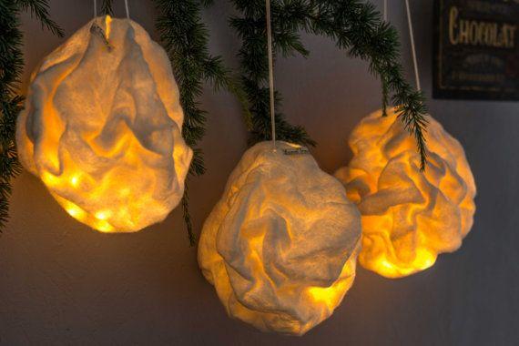 3 Lighting balls Crumpled White Lamp Nomade Suspension Light Felted