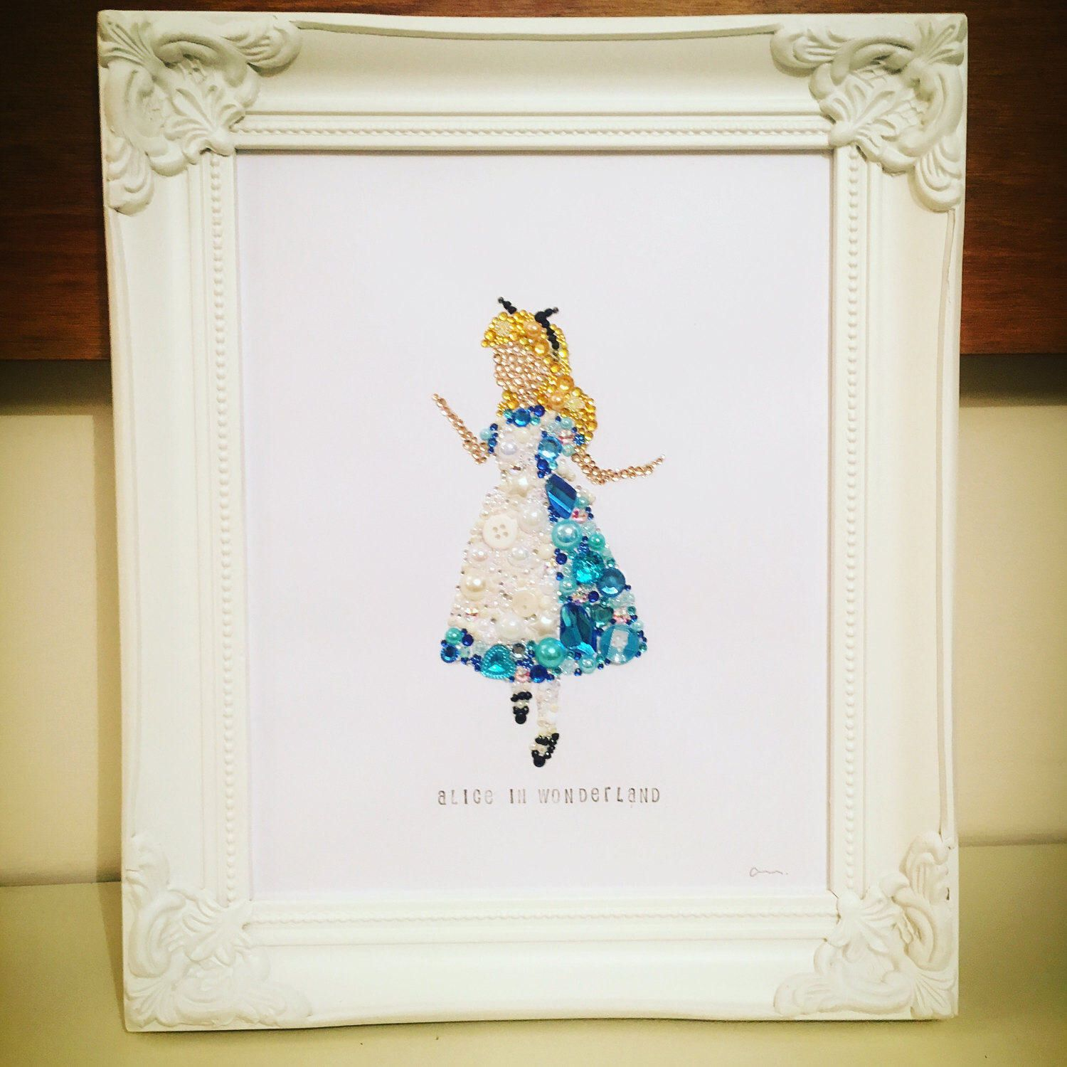 Alice in Wonderland Gift Button Frame Disney Gift Swarovski crystal ...