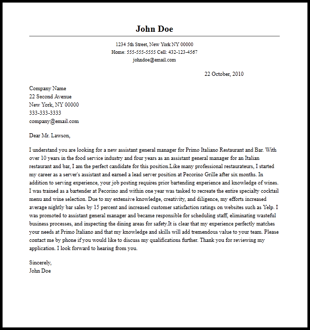 professional assistant general manager cover letter sle writing ...