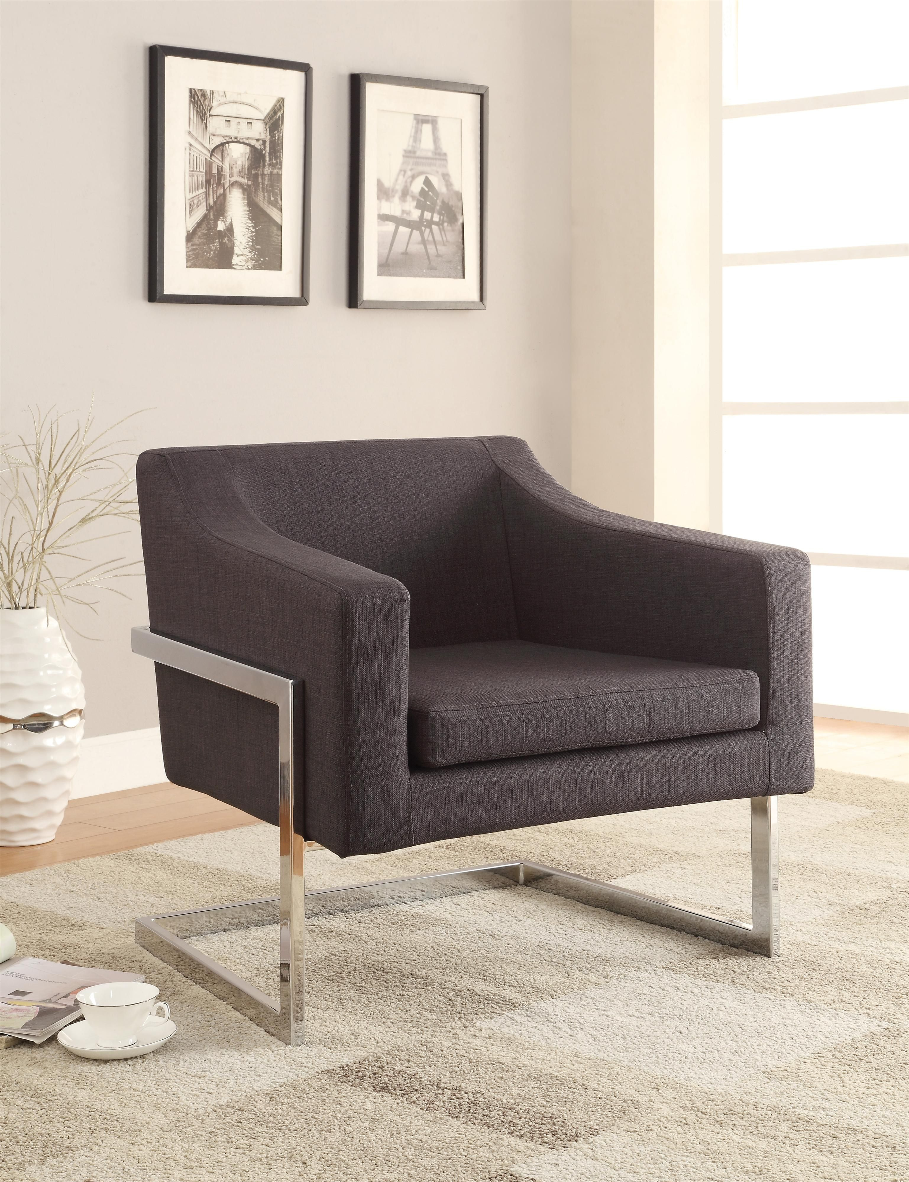 Coaster Accent Seating Contemporary Accent Chair in Grey Linen Like