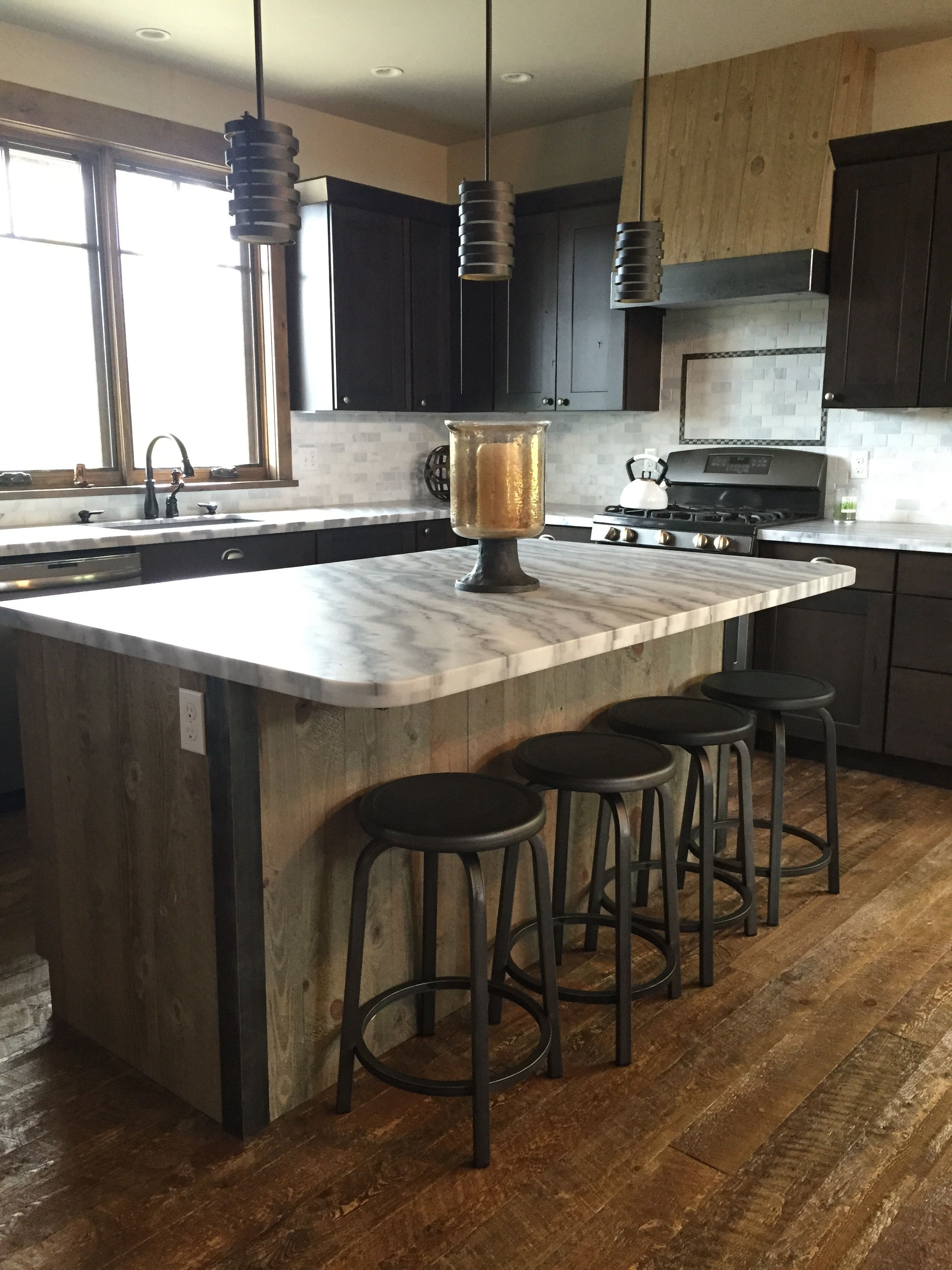 Kitchen Island wrapped in ghost wood