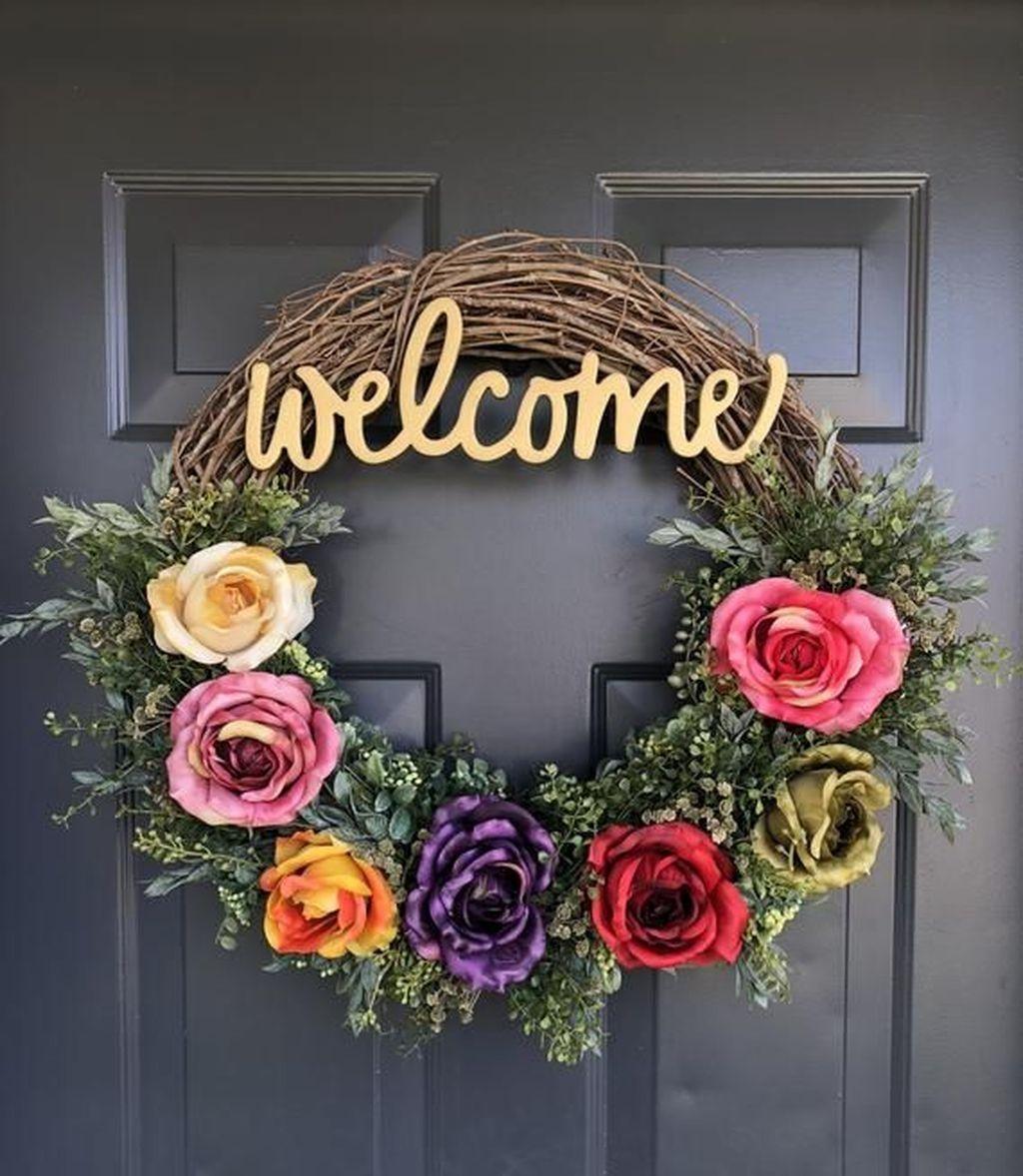 20 Beautiful Summer Wreath Design Ideas To Try Asap Coodecor Spring Floral Wreath Spring Flower Wreath Diy Spring Wreath