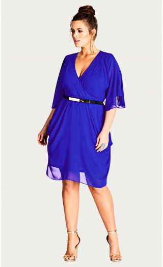 Blue Draped Faux Wrap Dress Things I want on my body