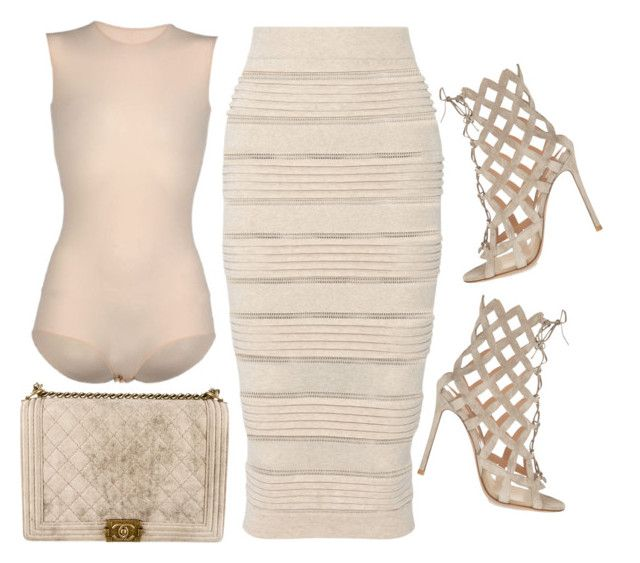 """""""'ALL NUDE EVERYTHING' by Melissa's Mirror"""" by melissas-mirror ❤ liked on Polyvore featuring Burberry, Chanel, Maison Margiela and Gianvito Rossi"""
