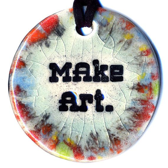 Make Art Ceramic Necklace in Multicolor Crackle Fade by surly, $20.00