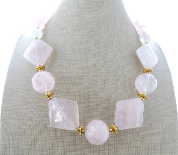 Photo of Rose quartz necklace, chunky gemstone necklace, big bold necklace, natural stone jewelry, contemporary jewelry, wedding jewelry, gioielli