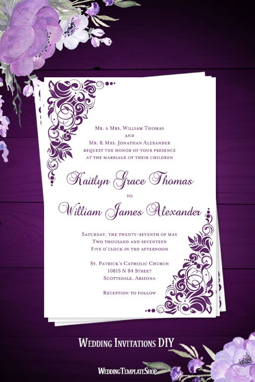 Gianna Wedding Invitation Purple In 2020 Wedding Invitation Kits