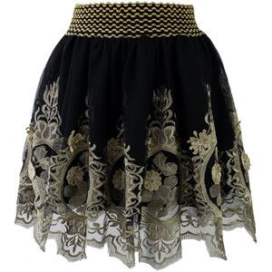 Chicwish Baroque Golden Embroidery Skater Skirt