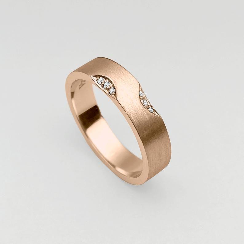 Flat 5 0mm Ring 18k Rose Gold Ring Satin High Polished Etsy 18k Rose Gold Rings Diamond Wedding Bands Gold Rings