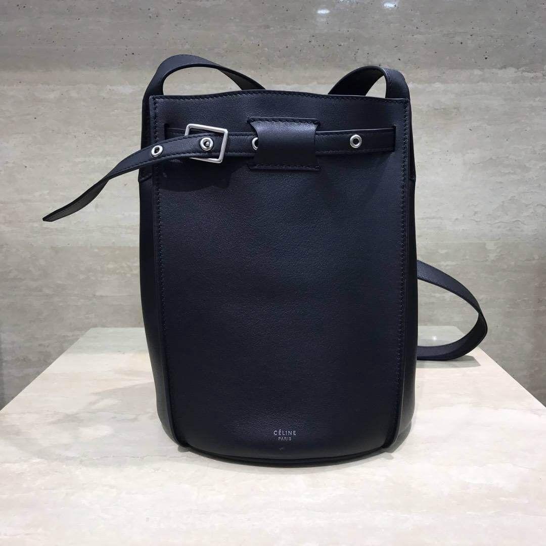 Celine Big Bag Bucket Bag With Long Strap in Smooth Calfskin Black 2018 c48a61cb8af93