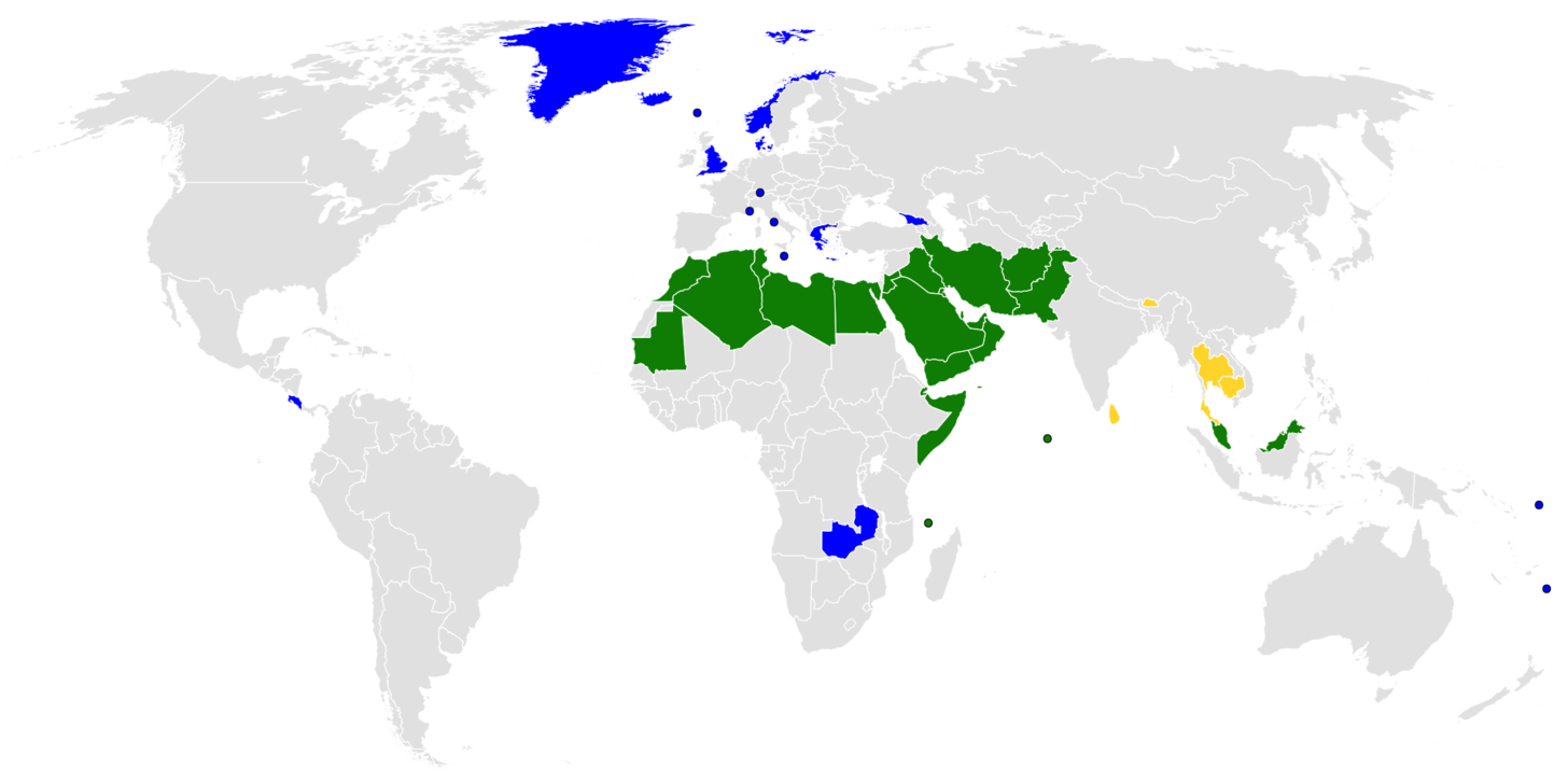 Map] Countries with an official state religion [1920—960]