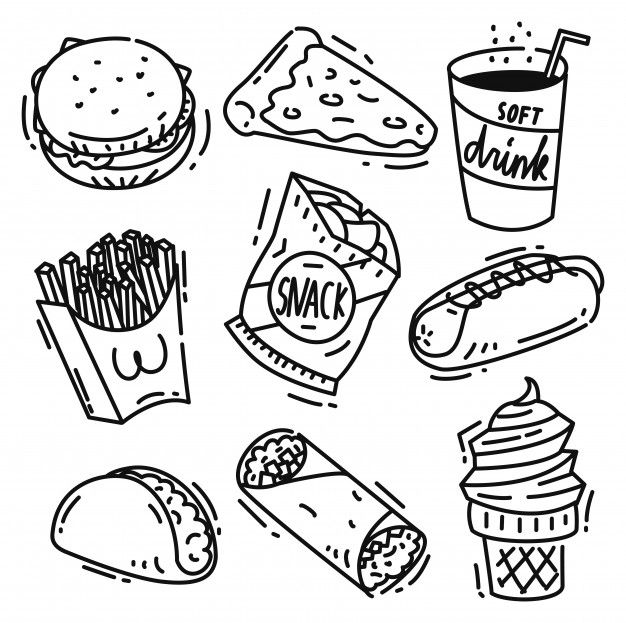 Set Of Junk Food Icon Doodle Isolated On White Background Healthy And Unhealthy Food Food Drawing Food Clipart