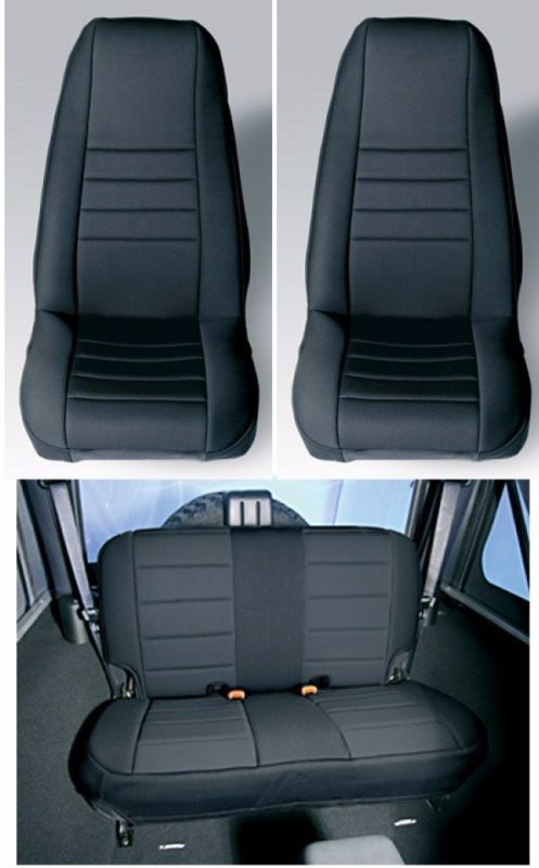 Neoprene Black Front And Rear Seat Covers Jeep Wrangler TJ 1997 02 Rugged  Ridge
