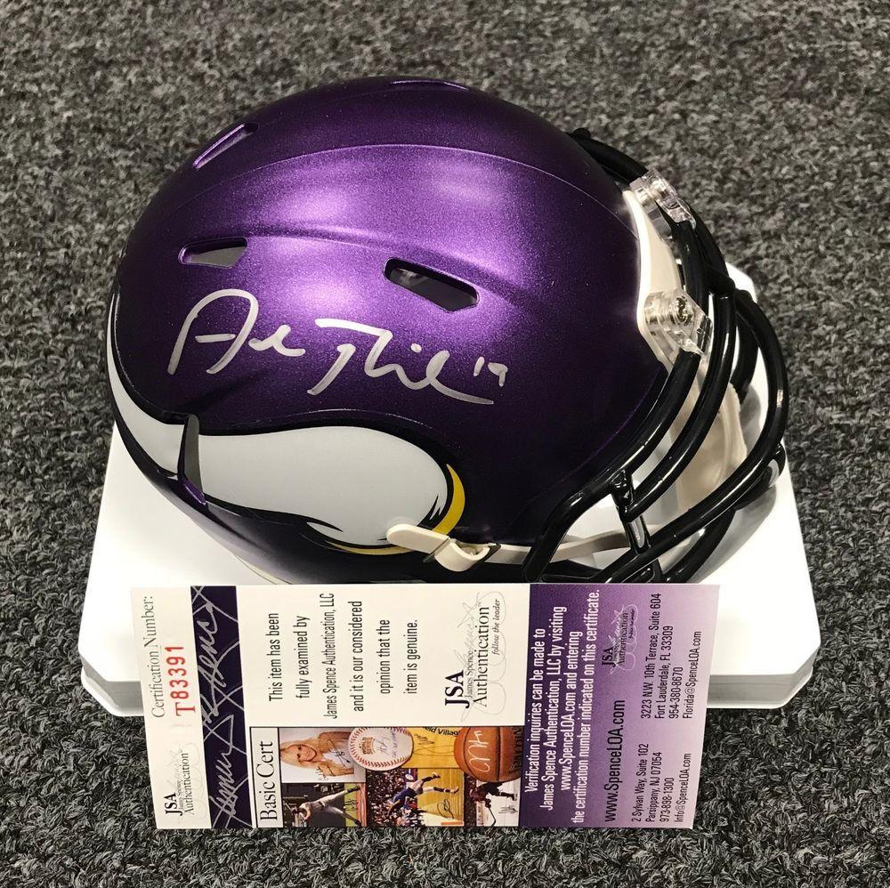 205ead4fee8 Adam Thielen Signed Minnesota Vikings Mini Helmet Autographed JSA WITNESSED  COA