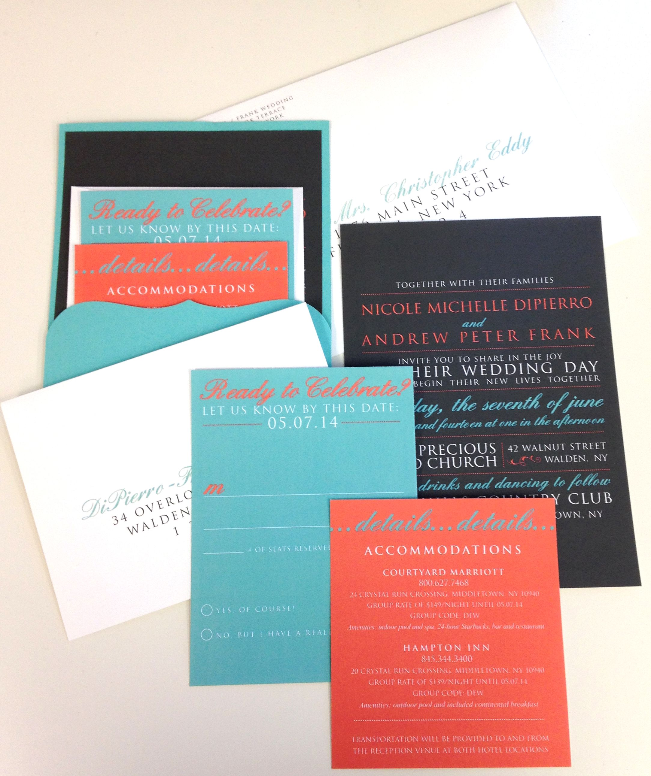 Tiffany Blue Coral And Charcoal Grey Invite With Card Holder Love