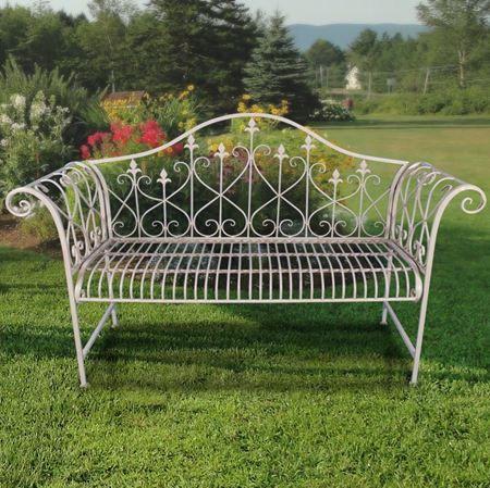 Rustikale, formschöne 2-Sitzer Gartenbank aus Metall in moderner ...