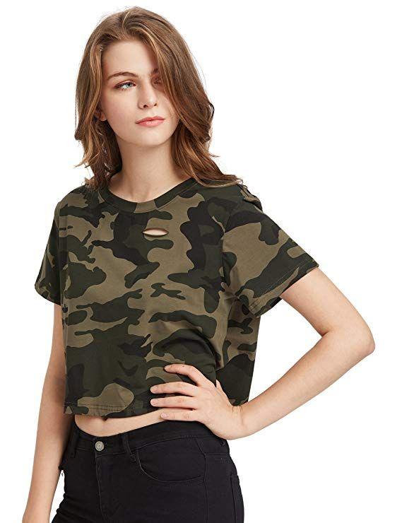 4ee2bfa48a3 SweatyRocks Tshirt Camo Print Distressed Crop T-Shirt at Amazon Women's  Clothing store: