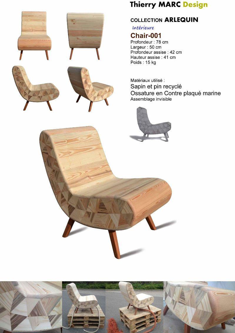 Betere fauteuil club vintage design bois thierry marc recyclé | PALETY QT-06