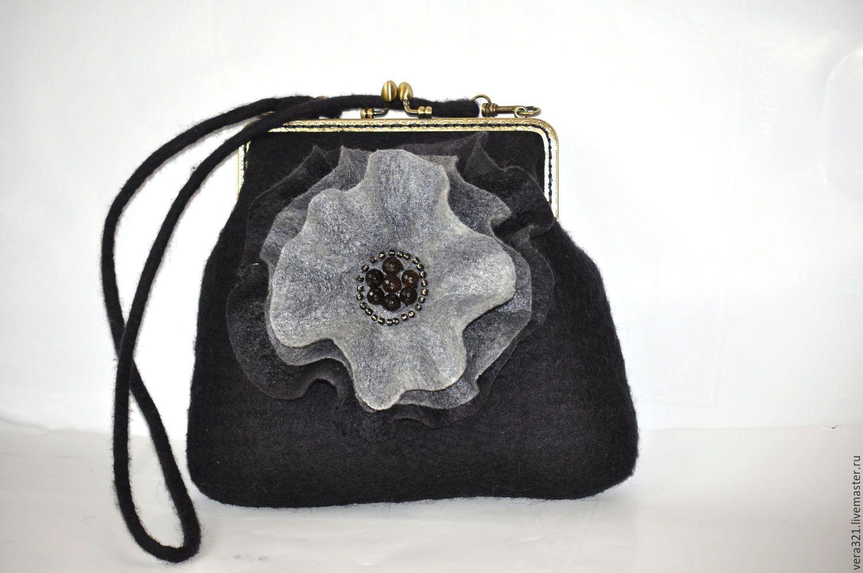 08478e433025 Купить Сумочка Кокетка - черный, серый, маленькая сумка, черный цвет, черная  сумка