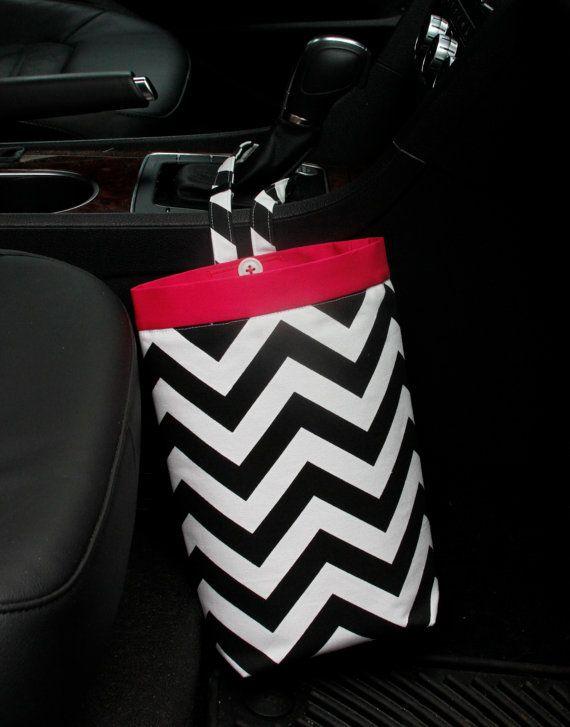 Car Trash Bag, BLACK CHEVRON, Women, Men, Car Litter Bag, Auto ...
