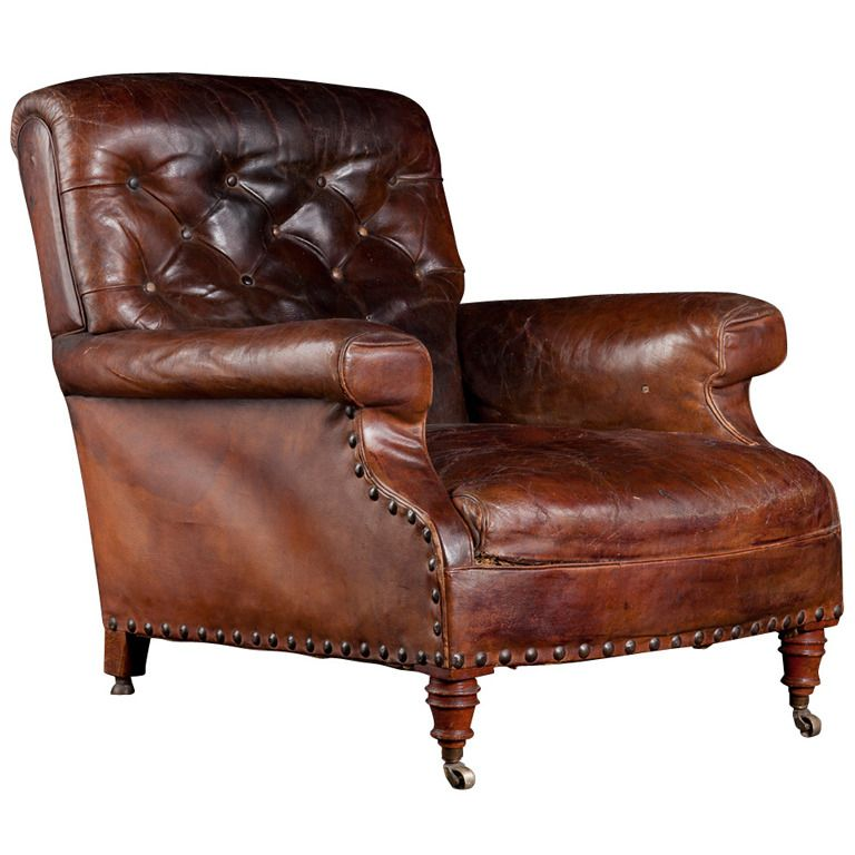 Leather Library Chair From A Unique Collection Of Antique And