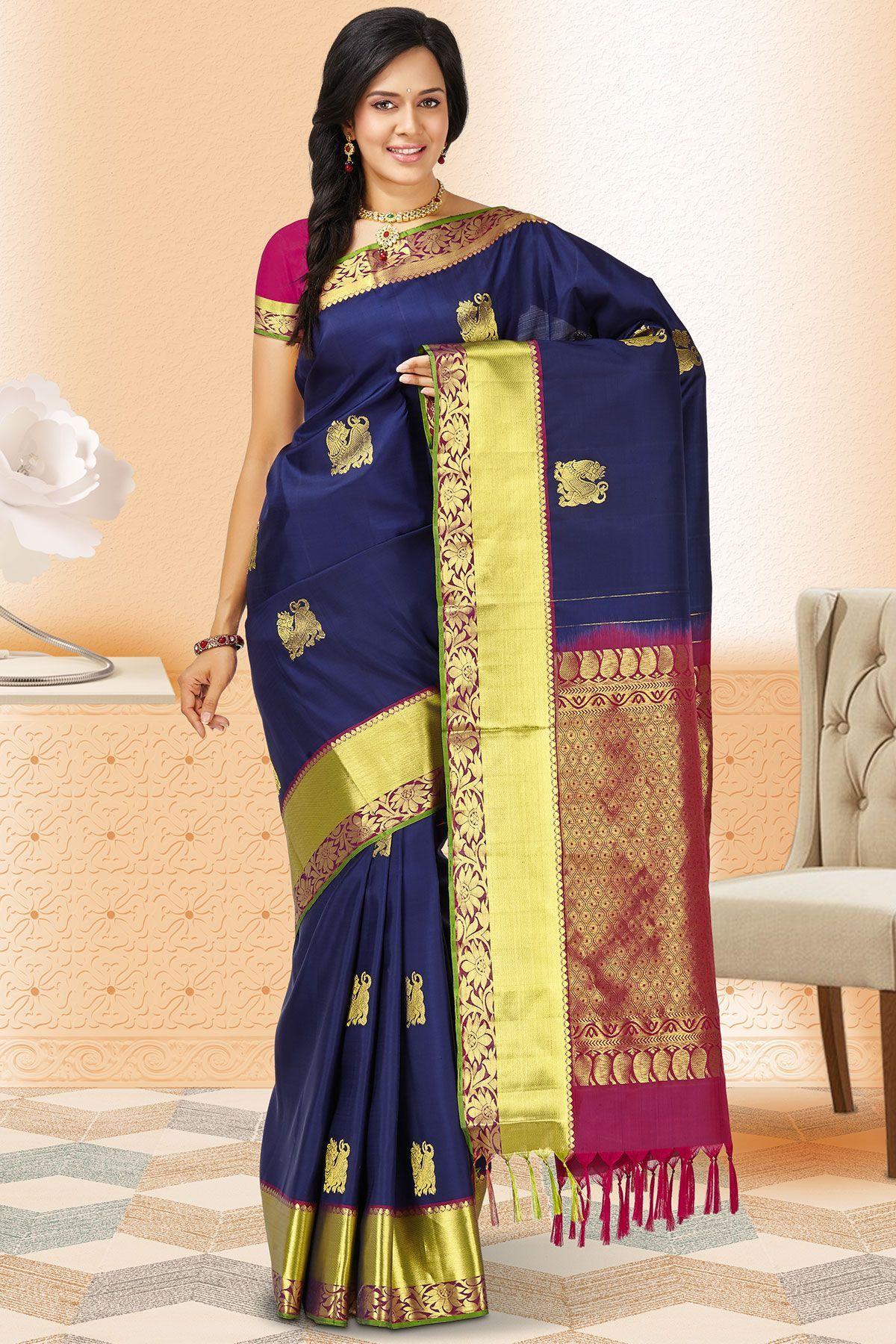 fc52107e3c3381 Navy Blue   Gold Kanchipuram Silk Zari Woven Saree-SR24272 ...