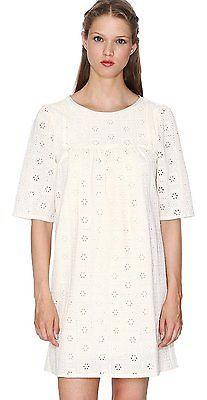 UK 10, Beige - Beige (Cream), Pepa Loves Women's Claudia 3/4 Sleeve Dress NEW