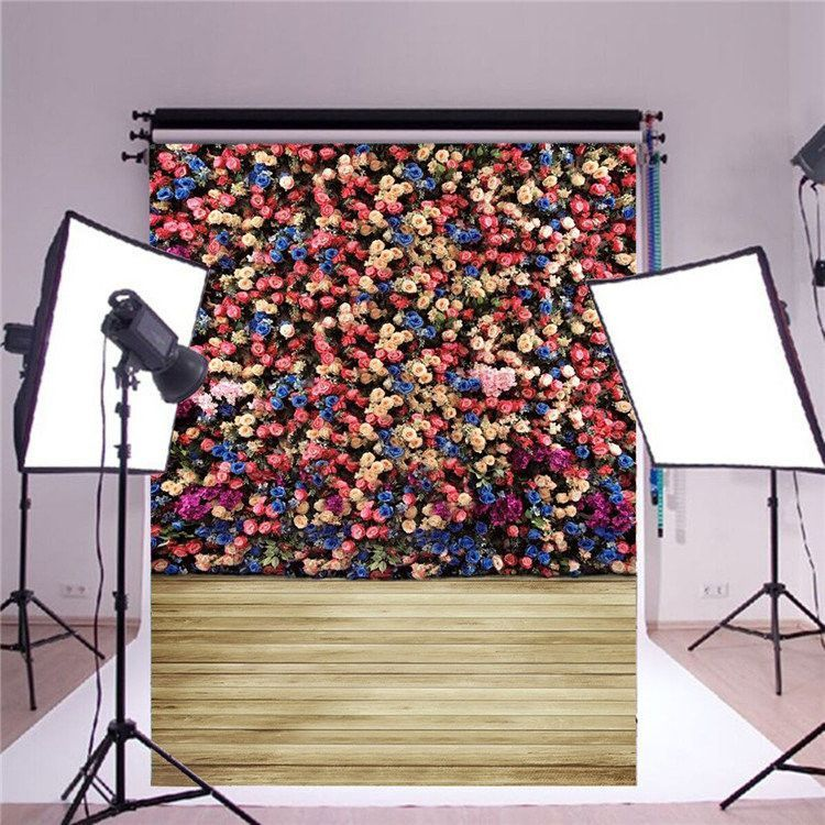5X7ft Valentine's Day Rose Wood Vinyl Photography Background Photo Studio Backdrop
