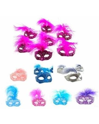 unbrand 12 Piece Set (Mini Mardi Gras) Feather Masquerade Mask Cake Topper Wedding and Party Decoration from Walmart | Real Simple #hawaiianluauparty