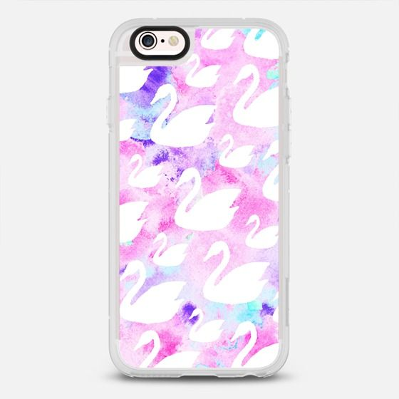 Elegant white swan silhouette pink teal watercolor - protective iPhone 6 phone case in Clear and Clear by Pink Water | @Casetify