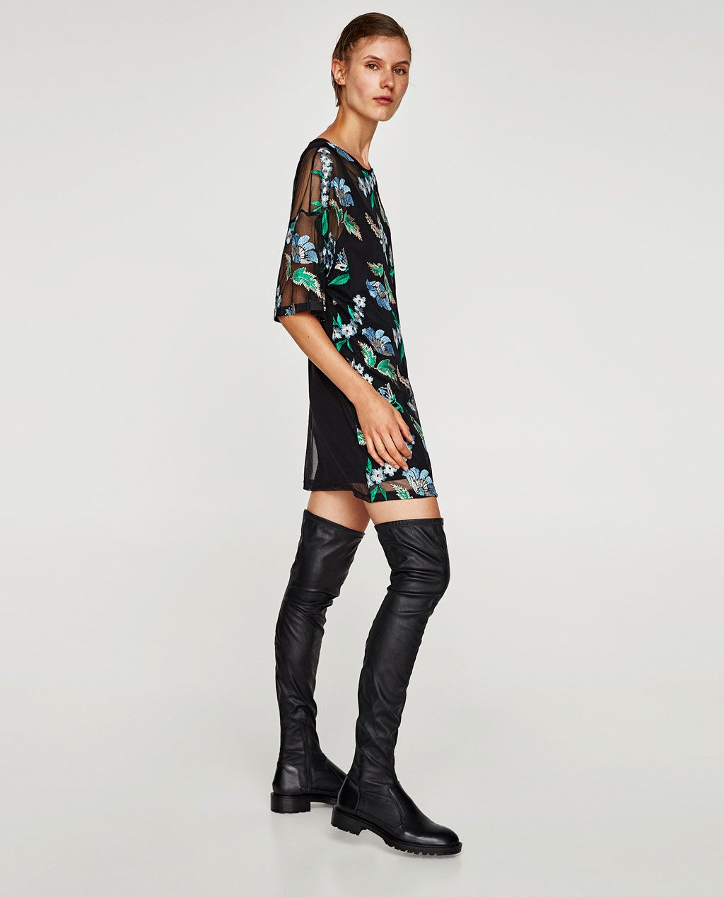 Contrast lace dress zara  Image  of DRESS WITH FLORAL EMBROIDERY from Zara  Embr  Pinterest