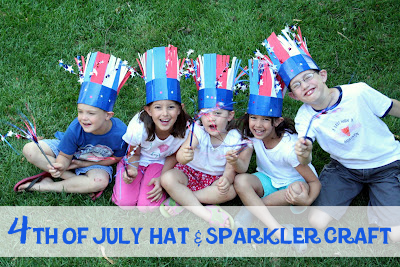 Hat and sparkler craft for kids to make for the fourth of July.