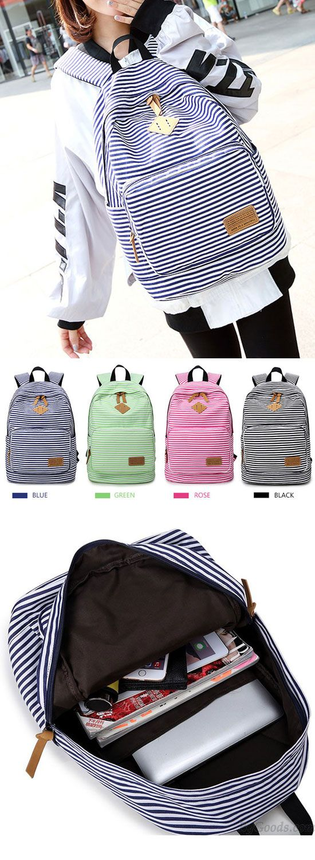 Summer Striped Leisure Canvas Backpack for big sale!  leisure  canvas   summer  backpack  Bag  college  student  school  rucksack  travel  cute 0f75b913fcc7e