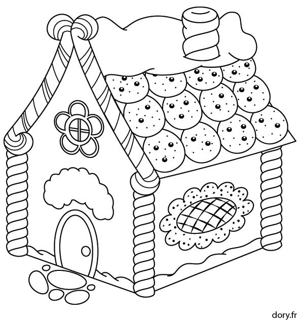Dessin à imprimer, une maison en pain d\'épice | Coloriage ...