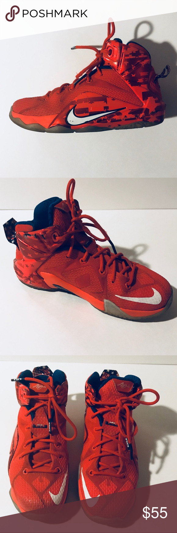 best loved 7a025 aa9c3 ... shop nike labron 12 basketball shoes youth size 4 usa nike lebron 12 red  white and
