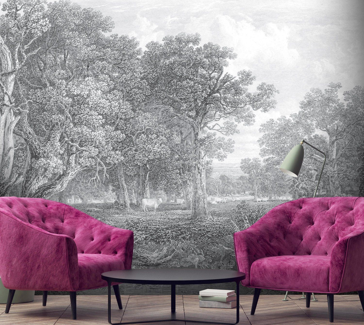 Pink hallway wallpaper  Vintage etched grey designer wall mural Holy Cow by Woodchip