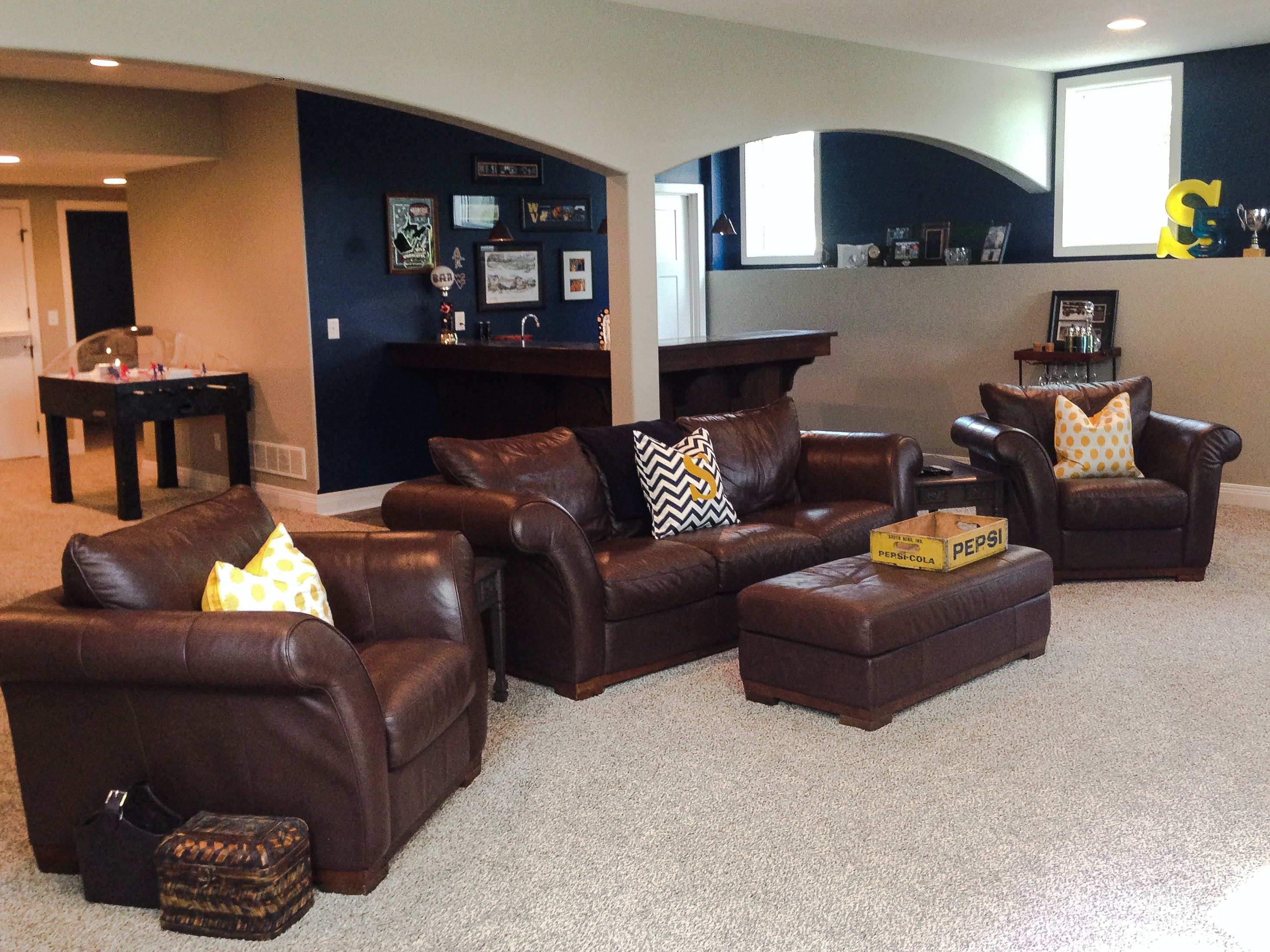 Club Basement Ideas Painting paint: indigo streamer and woodlawn colonial grey. westvirginia