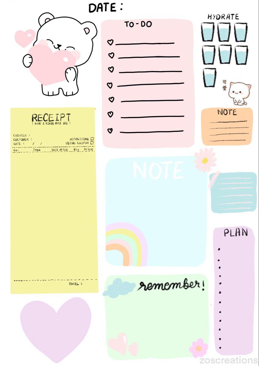 Digital Bullet Journaling Free Post It Spreads In 2021 Kawaii Planner Note Writing Paper Bullet Journal Stickers