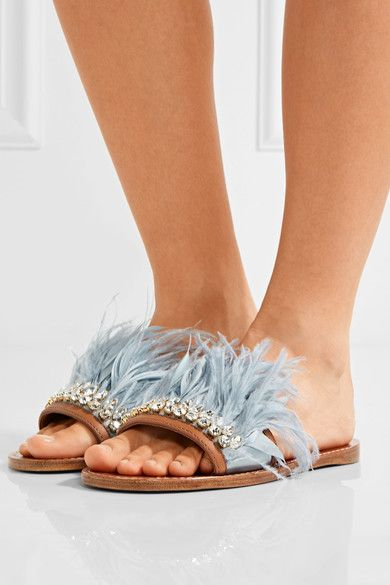 acebc23f3a8 Miu Miu - Swarovski Crystal And Feather-embellished Satin And Leather  Slides - Sky blue