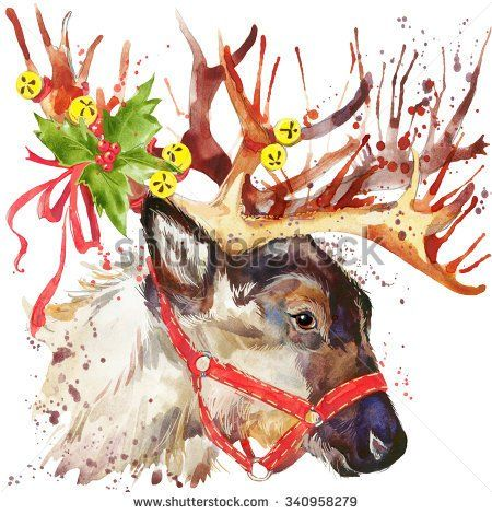 watercolor christmas reindeer t shirt graphics watercolor winter holidays background illustration holiday design watercolor reindeer for fashion print