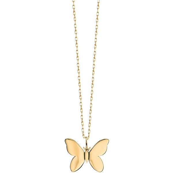 Small Yellow Gold Butterfly Necklace Sydney Evan Butterfly Necklace Gold Gold Charm Necklace Gold Jewerly