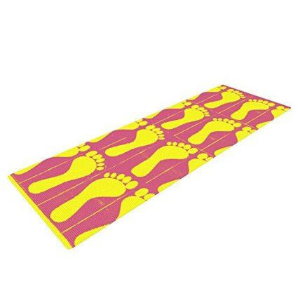 "Kess InHouse Sreetama Ray ""Footprints Yellow"" Yoga Exercise Mat, Pink Illustration, 72 x 24-Inch"
