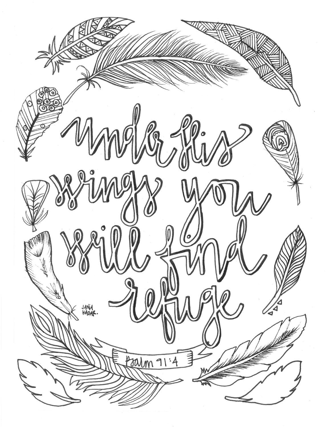 Coloring Pages Bible Pdf : Under his wings you will find refuge coloring page pdf by