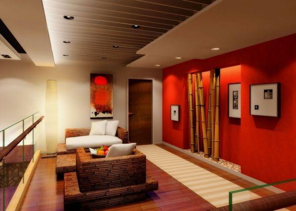 Wohnzimmer Deko bambus dekoration wand rot knall farben | Wohnen ...