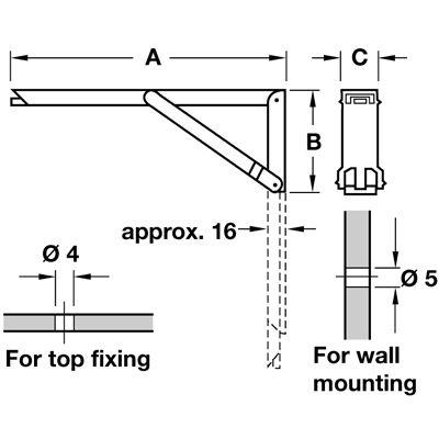 2 X Hafele Wall Mounted Folding Table Bench Shelf Brackets Hinged Wall Mounted Folding Table Shelf Support Brackets Shelf Brackets
