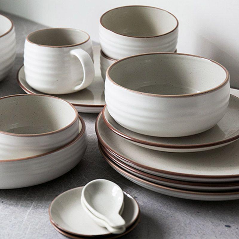 12pcs Set Ceramic Bowl Plates Dinnerware Sets Kitchenware Rice Bowl Mug Dishes Salad Bowl Plates Fruit Tray Dinnerware Sets Ceramic Tableware Plates And Bowls