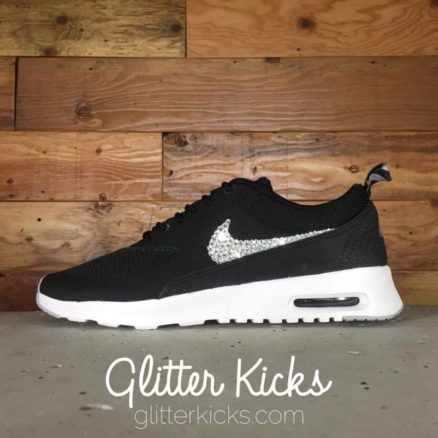 Women s Nike Air Max Thea Running Shoes By Glitter Kicks - Customized With  Swarovski Crystal Rhinestones - Black Grey White 0d942b36cf2e